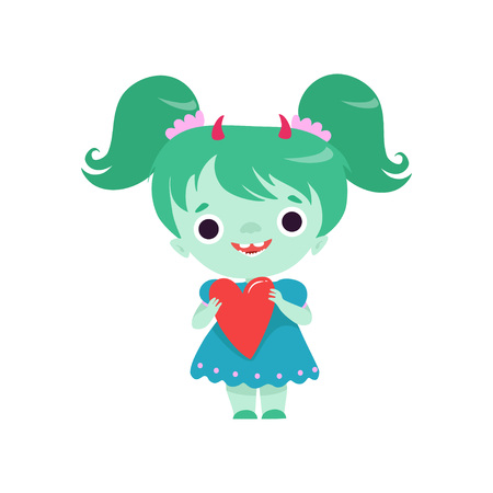 Cute Horned Troll Girl, Lovely Smiling Fantasy Creature Character with Green Hair Vector Illustration on White Background. Stock Illustratie