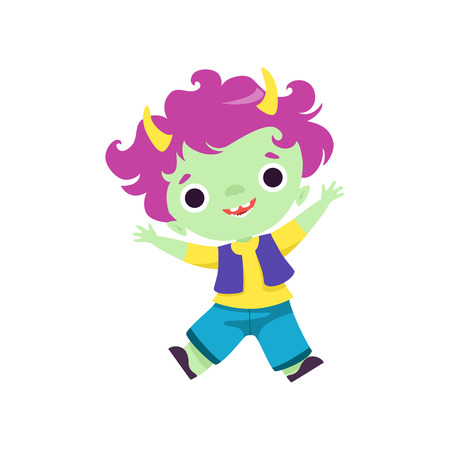 Happy Horned Troll Boy, Cute Smiling Fantasy Creature Character with Purple Hair Vector Illustration