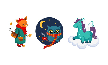 Cute funny animals characters in different actions, fox in a coat and a bag, owl wearing knitted scarf drinking tea, horse with wings on a cloud vector Illustration isolated on a white background. Illusztráció