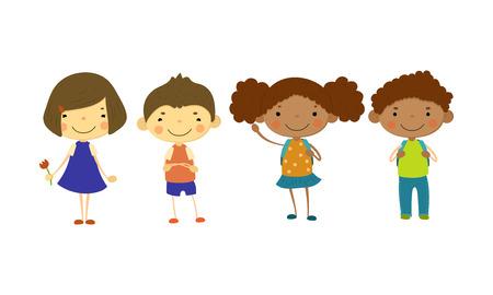 Bambini svegli di diverse nazionalità insieme, ragazzini felici e ragazze, vettore di concetto di amicizia multinazionale illustrazione isolato su sfondo bianco.