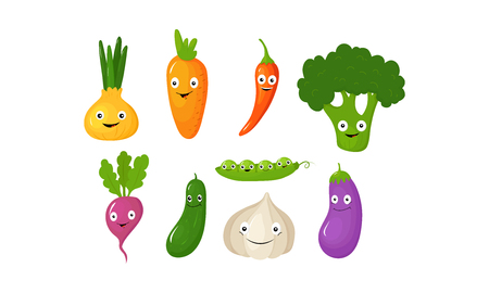 Funny vegetable cartoon characters, cute vegetables with funny faces vector Illustration Vettoriali