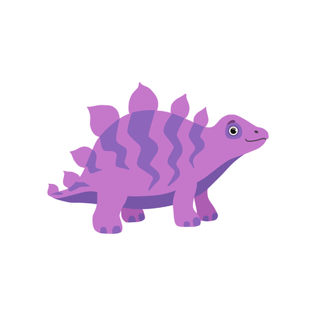 Cute stegosaurus dinosaur, purple baby dino cartoon character vector Illustration isolated on a white background.