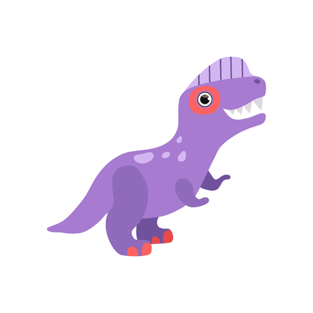 Cute purple dinosaur, funny baby dino cartoon character vector Illustration isolated on a white background. Illustration