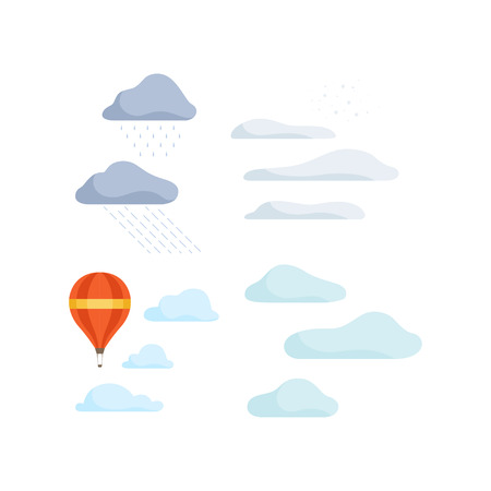 Clouds and hot air balloon, landscape design elements vector Illustration isolated on a white background.