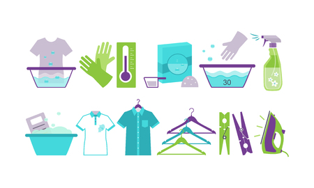 Laundry room icons set, iron, basin, hangers, washing chemicals bottles, clothespins, gloves vector Illustration isolated on a white background.