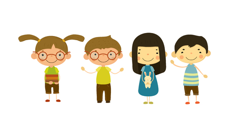 Cute children of different nationalities set, happy little boys and girls vector Illustration isolated on a white background.