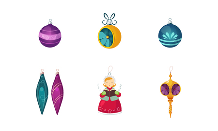 Colorful Christmas toys and decorations of different shapes vector Illustration isolated on a white background.  イラスト・ベクター素材