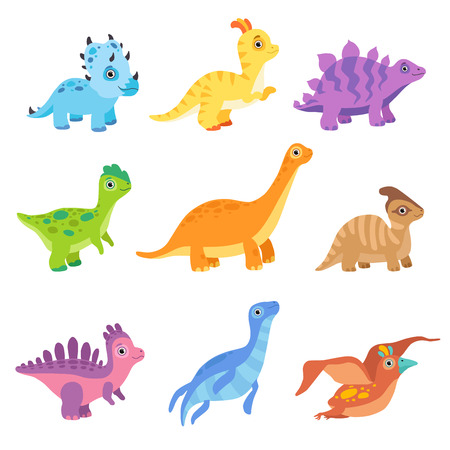 Collection of cute colorful dinosaurs, funny baby dino cartoon characters vector Illustration isolated on a white background. Иллюстрация