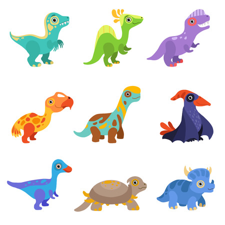 Collection of cute dinosaurs, colorful baby dino cartoon characters vector Illustration isolated on a white background.