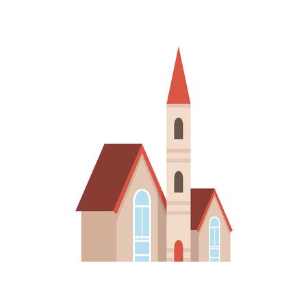 Christian church building, design element of urban or rural landscape vector Illustration