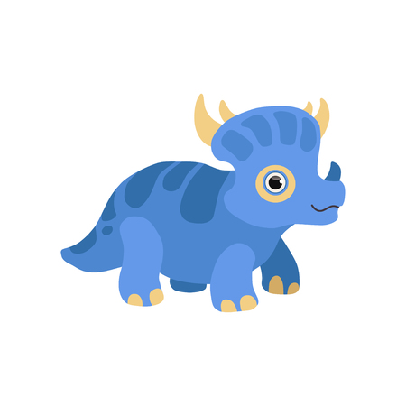 Cute styracosaurus dinosaur, blue baby dino cartoon character vector Illustration isolated on a white background. Illustration
