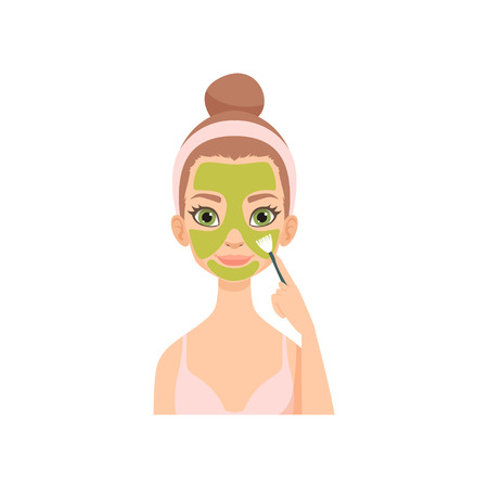 Young woman applying natural mask, girl caring for her face and skin, facial treatment procedure vector Illustration isolated on a white background.