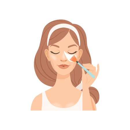 Attractive young woman cleaning her face with a cotton swab, girl caring for her face and skin, facial treatment procedure, vector Illustration isolated on a white background. Vettoriali