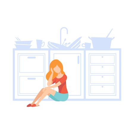 Overworked housewife tired of household duties, emotional burnout concept, stress, headache, depression, psychological problems vector Illustration isolated on a white background. Illusztráció
