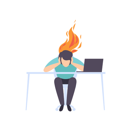 Exhausted tired man sitting at his working place with computer in office, businessman with burning brain, emotional burnout concept, stress, headache, depression, psychological problems vector Illustration isolated on a white background.
