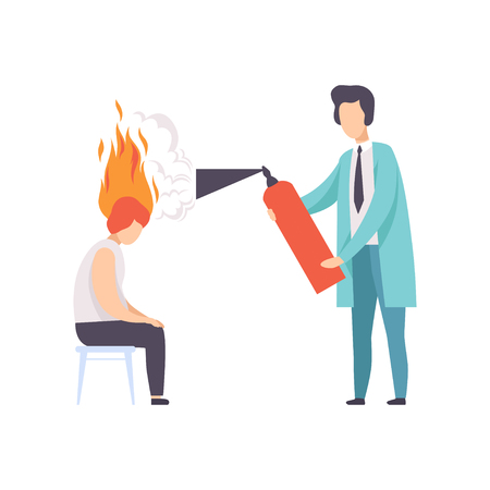 Exhausted young woman with burning brain, psychotherapist or psychologist with a fire extinguisher, emotional burnout concept, stress, headache, depression, psychological problems vector Illustration isolated on a white background.