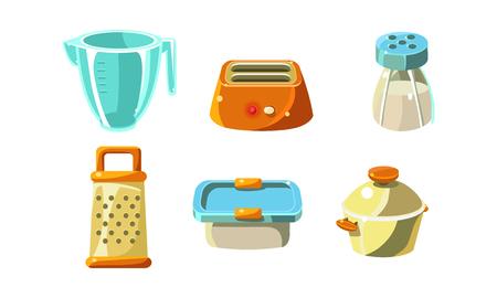 Keukengerei set, kookgerei, maatbeker, broodrooster, rasp, container, pan vector illustratie geïsoleerd op een witte achtergrond.