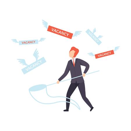 Unemployed male job seeker, office worker fired from job, unemployment concept, recruitment, hiring vector Illustration