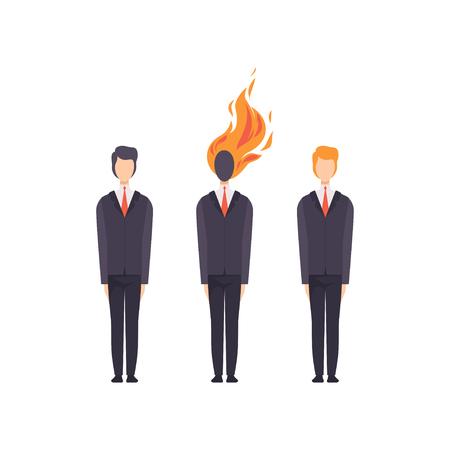 Biznesmeni, udane i wyczerpane, przepracowani pracownicy biurowi, pojęcie wypalenia emocjonalnego, stres, ból głowy, depresja, problemy psychologiczne wektor ilustracja na białym tle.