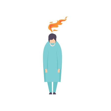 Überarbeiteter erschöpfter Arzt, emotionales Burnout-Konzept, Stress, Kopfschmerzen, Depressionen, psychische Probleme Vektor-Illustration isoliert auf weißem Hintergrund.