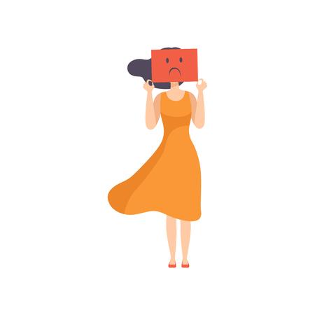 Mujer joven sosteniendo una hoja de papel con una cara triste, concepto de agotamiento emocional, estrés, dolor de cabeza, depresión, problemas psicológicos vector ilustración aislada sobre fondo blanco.