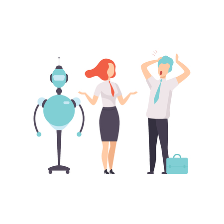 Hiring people or robots, android and man competition for a job, office worker fired from job, vector Illustration