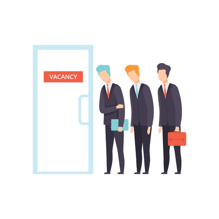 Competition of people for jobs, selection of candidates for vacancy, job search, recruitment, hiring vector Illustration isolated on a white background.