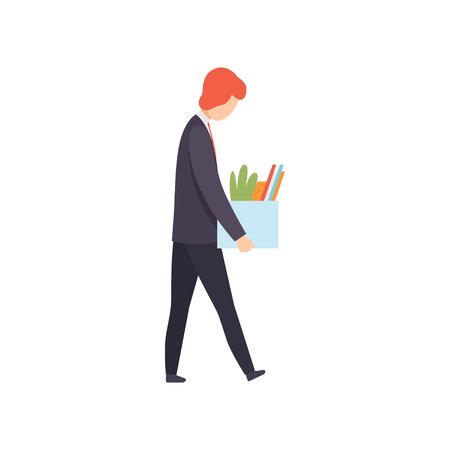 Business man dismissed from work, man with a box of personal belongings, office worker fired from job, unemployed man vector Illustration isolated on a white background.