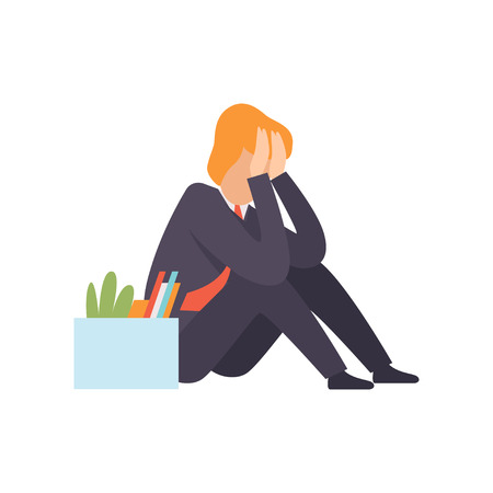 Sad business man dismissed from work, man sitting on the floor with a box of personal belongings, office worker fired from job, unemployed man vector Illustration isolated on a white background. Illustration