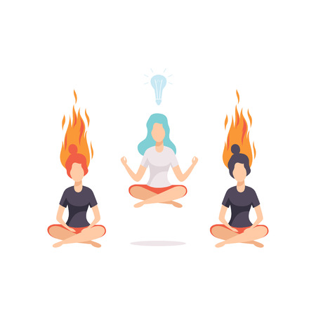 Women meditating and relaxing in lotus position, emotional burnout concept, stress, headache, depression, psychological problems vector Illustration isolated on a white background.