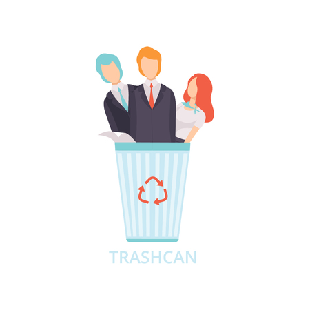 Business people in the trash can, workers dismissed from work, unemployed people vector Illustration isolated on a white background.
