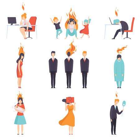 Conjunto de personas agotadas cansadas con cerebro ardiente, concepto de agotamiento emocional, estrés, dolor de cabeza, depresión, problemas psicológicos vector ilustración