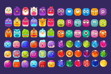Collection of colorful glossy figures of different shapes, user interface assets for mobile apps or video games vector Illustration, web design