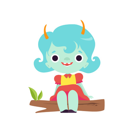 Cute Horned Troll Girl, Happy Adorable Fantasy Creature Character with Light Blue Hair Vector Illustration on White Background. Illustration
