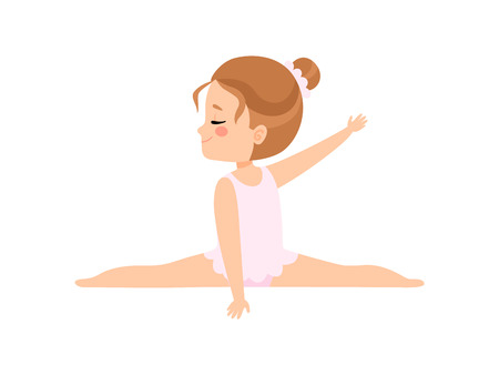 Cute Little Ballerina Doing Splits, Girl Gymnast Character in White Leotard Vector Illustration on White Background.