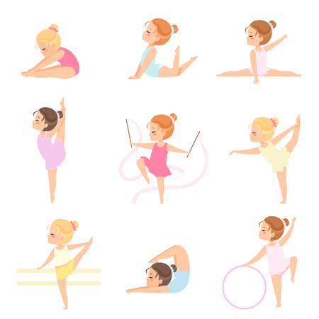 Cute Little Ballerinas Doing Exercises Set, Girls Gymnasts Characters Training in Leotards Vector Illustration on White Background.