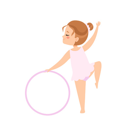 Cute Flexible Little Ballerina Doing Exercise with Hoop, Girl Gymnast Character Training Vector Illustration on White Background.