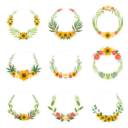 Corona floreale con set di girasoli e foglie, bordi di cornici di cerchio con posto per testo, elemento di design per biglietto di auguri, invito, banner illustrazione vettoriale su sfondo bianco.