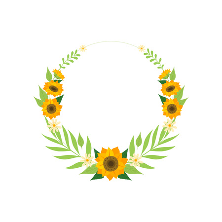 Floral Wreath with Sunflowers, Circle Frame with Flowers and Leaves Vector Illustration on White Background.  イラスト・ベクター素材