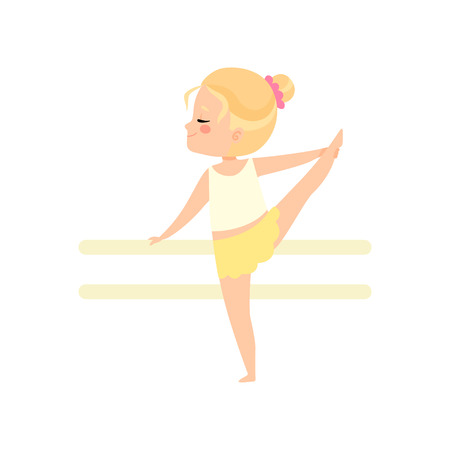 Cute Little Ballerina Dancing Doing Exercise at Barre, Girl Gymnast Character Vector Illustration on White Background.