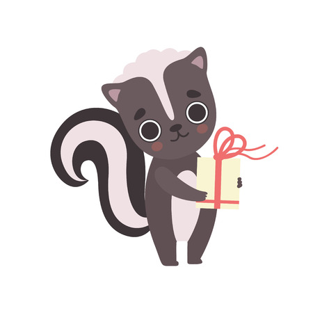 Cute Little Skunk with Gift Box, Adorable Baby Animal Cartoon Character Vector Illustration on White Background.