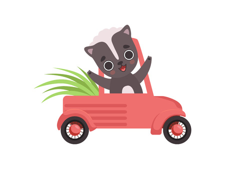 Cute Little Skunk Driving a Car, Adorable Baby Animal Cartoon Character Vector Illustration