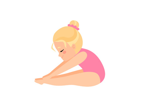 Cute Little Ballerina Doing Exercise, Blonde Girl Gymnast Character in Pink Leotard Vector Illustration on White Background.