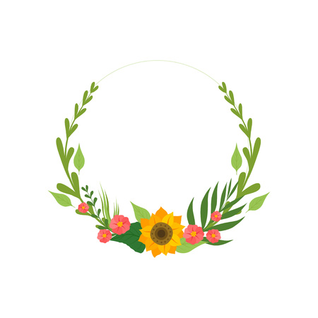 Floral Wreath with Flowers and Leaves, Design Element For Greeting Card, Invitation Vector Illustration on White Background.