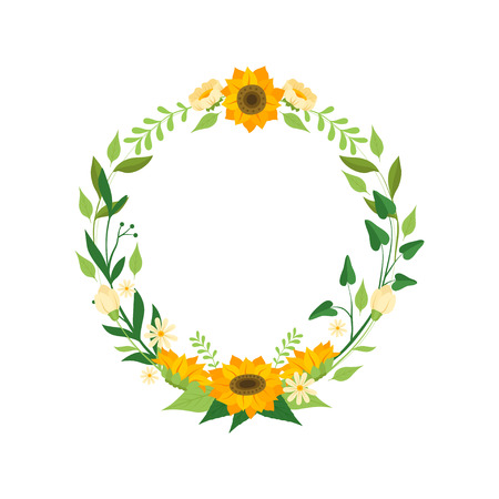 Floral Wreath with Sunflowers, Circle Frame with Leaves, Flowers and Place for Text, Design Element For Greeting Card, Invitation, Banner Vector Illustration on White Background.