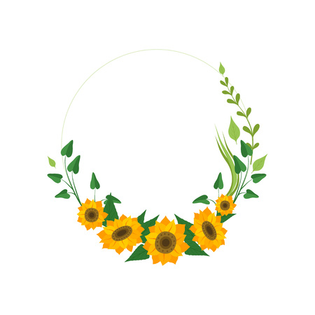 Corona floreale con girasoli e foglie, elemento di design per biglietto di auguri, illustrazione vettoriale di invito su sfondo bianco.