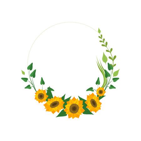 Couronne florale avec des tournesols et des feuilles, élément de conception pour carte de voeux, illustration vectorielle d'invitation sur fond blanc.