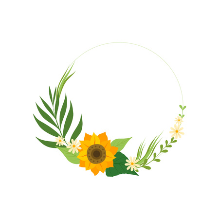 Floral Circle Frame with Sunflower, Green Leaves and Place for Text, Design Element For Greeting Card, Invitation, Banner Vector Illustration on White Background.