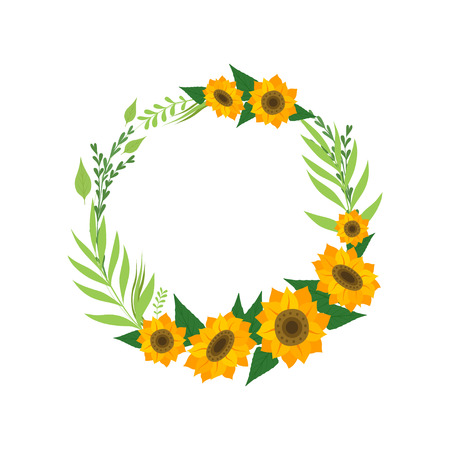 Corona con girasoli, bordo rotondo floreale con fiori e foglie, elemento di design per biglietto di auguri, invito, banner illustrazione vettoriale su sfondo bianco. Vettoriali