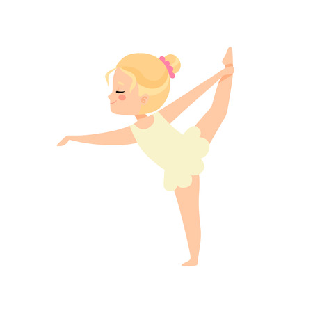 Cute Little Ballerina Doing Exercise, Blonde Girl Ballet Dancer Character Training Vector Illustration on White Background.